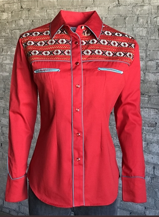 Rockmount Ranch Wear Ladies Vintage Western Shirt Native Inspired Embroidery Red Front