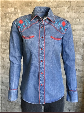 Womens Rockmount Ranch Wear Denim Shirt with Native American Inspired Embroidery Front