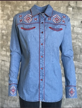 Rockmount Ranch Wear Ladies Vintage Inspired Western Shirt Native American Inspired Embroidery Denim Front