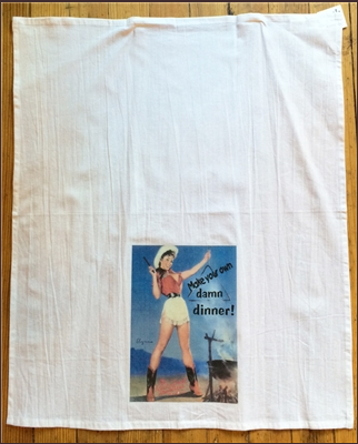 Tea Towel: Cowgirl with Dinner Bell