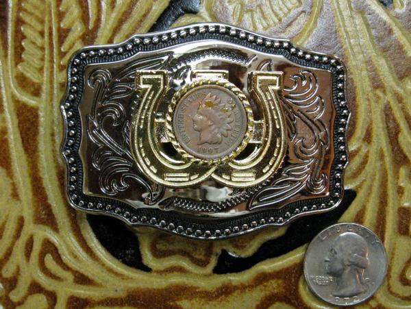 Rockmount Ranch Wear Accessory Trophy  Buckle Antique Penny Horseshoes Front