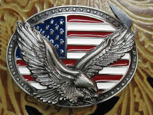 Rockmount Ranch Wear Accessory Trophy Oval Buckle with Eagle in Flight and Flag