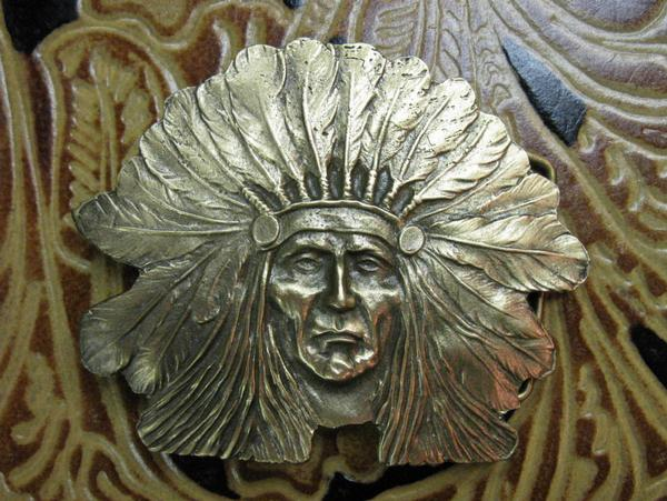 Rockmount Ranch Wear Accessory Trophy Buckle Native American Chief Brass