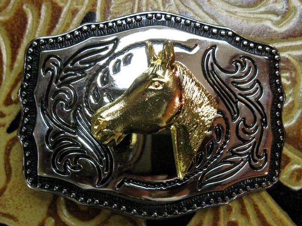 Rockmount Ranch Wear Accessory Trophy Buckle Raised Horsehead Front