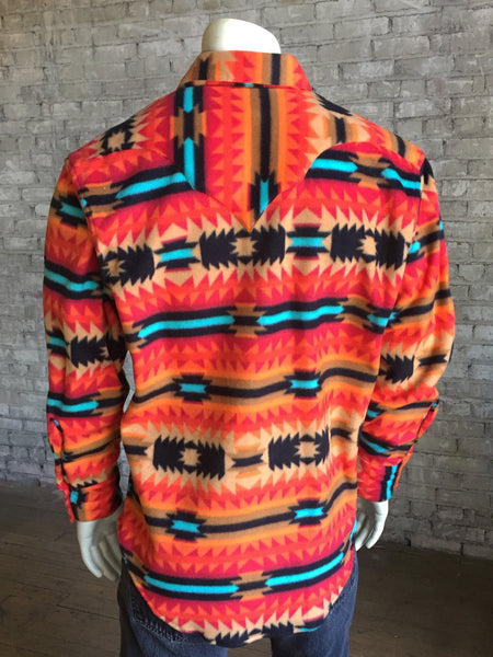 Men's Rockmount RanchWear Native American coral Design Fleece Shirt Front