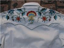Vintage Inspired Western Shirt Ladies Rockmount Floral Embroidery Ivory Back