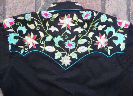 Vintage Inspired Western Shirt Ladies Rockmount Floral Embroidery Black Back