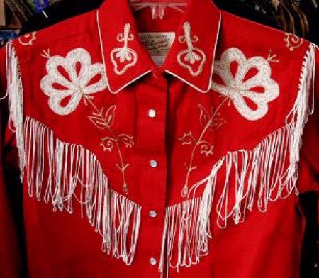 Vintage Inspired Western Shirt Ladies Rockmount Fringe Red Front XS-XL