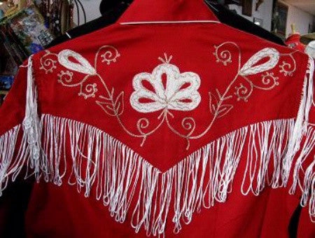 Vintage Inspired Western Shirt Ladies Rockmount Fringe Red Back XS-XL