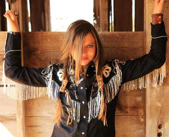 Vintage Inspired Western Shirt Ladies Rockmount Fringe Black on Model