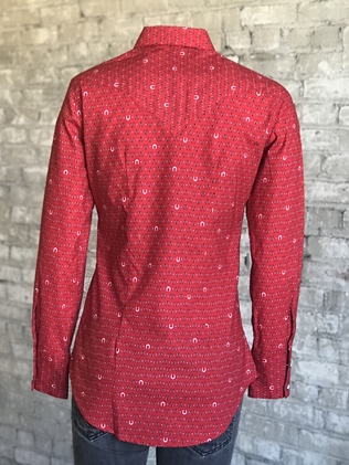 Rockmount Ranch Wear Ladies Western Shirt Red Horseshoe Print Front