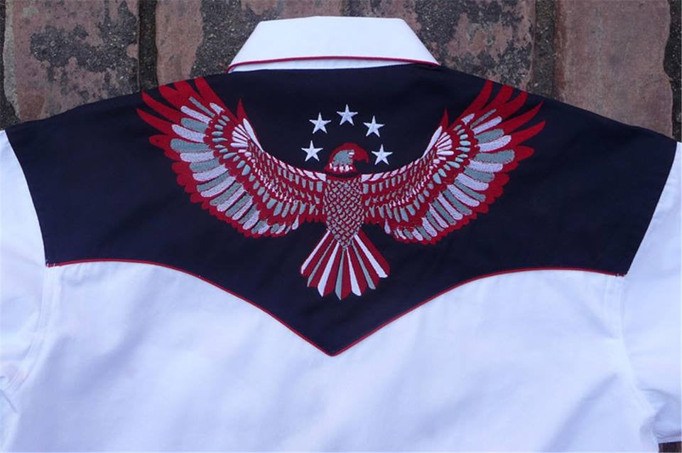 Rockmount Ranch Wear Mens Vintage Western Shirt Stars and Eagles Back