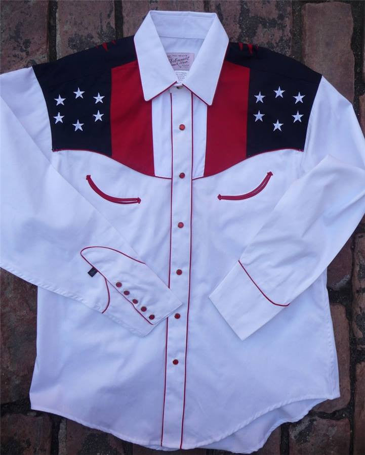 Rockmount Ranch Wear Mens Vintage Western Shirt Stars and Eagles Front