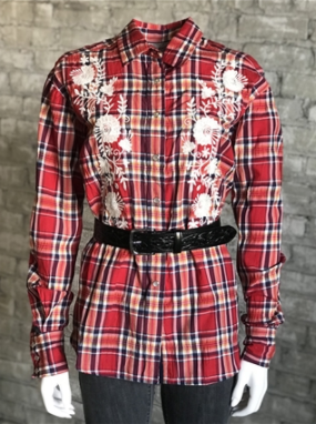 Rockmount Ranch Wear Ladies Western Shirt Red Plaid with Embroidered Flowers Front