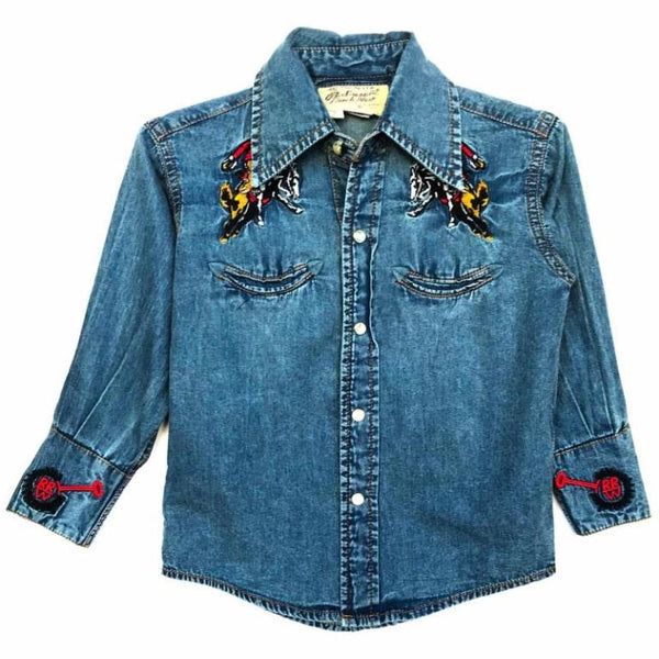 Rockmount Ranch Wear Children's Western Denim Bronc Shirt Front