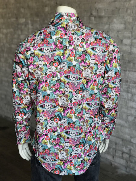 Men's Rockmount Ranch Wear Western Print Shirt Day of the Dead Front