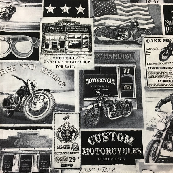 Rockmount Ranch Wear Bandana Black and White Vintage Motorcycles