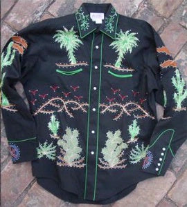 Rockmount Ranch Wear Ladies' #7755 Palm Trees Wagon Wheel Shirt Black Front