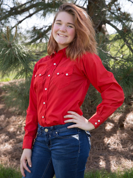 Rockmount Ranch Wear Womens Western Shirt Cotton Blend Red Model