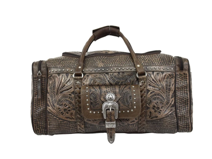 American West Handbag, Retro Rodeo Bag Luggage Distressed Charcoal Front
