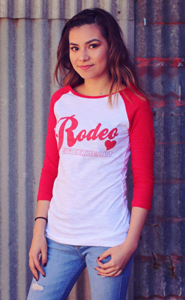 Original Cowgirl Clothing Baseball T-Shirt Rodeo Sweetheart White Body Red Sleeves Jr. Sizes