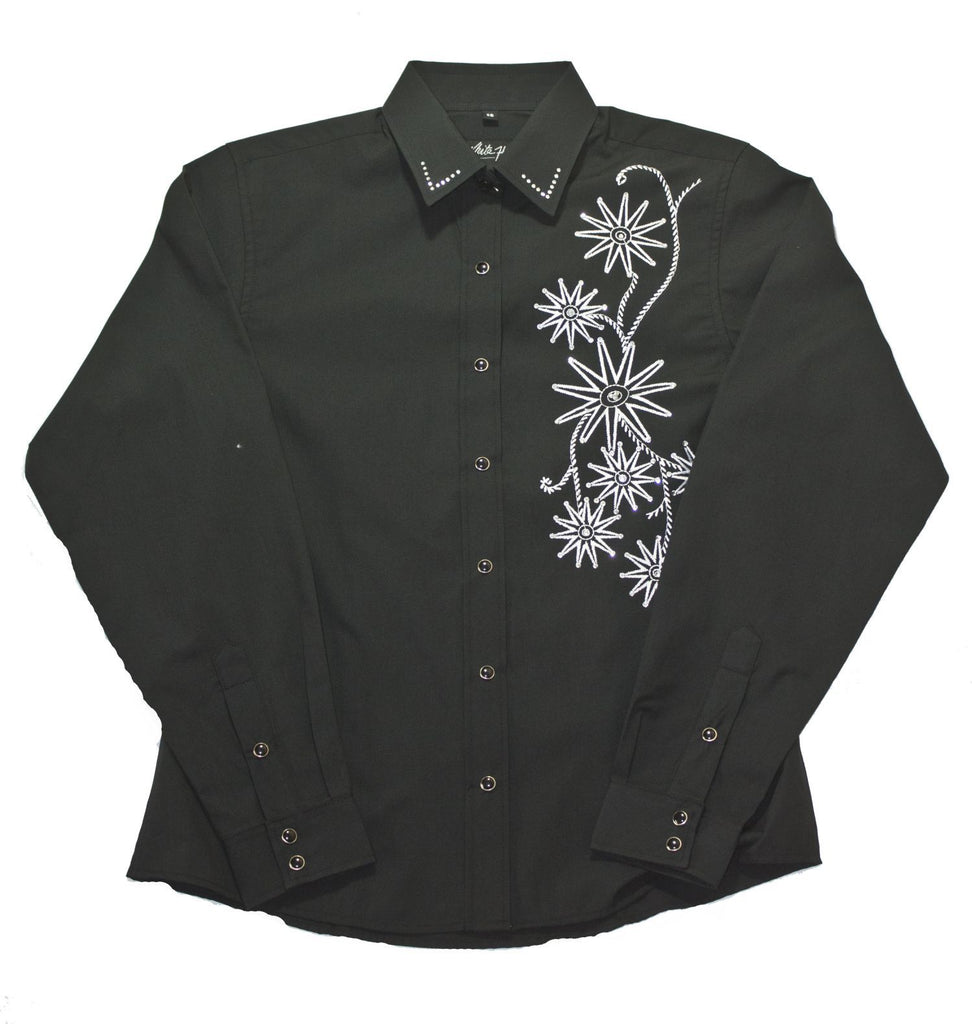 White Horse Apparel Women's Western Shirt Embroidered Rowell Design Black