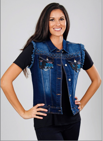 Ladies' Venario Denim Vest with Fleece Back Front