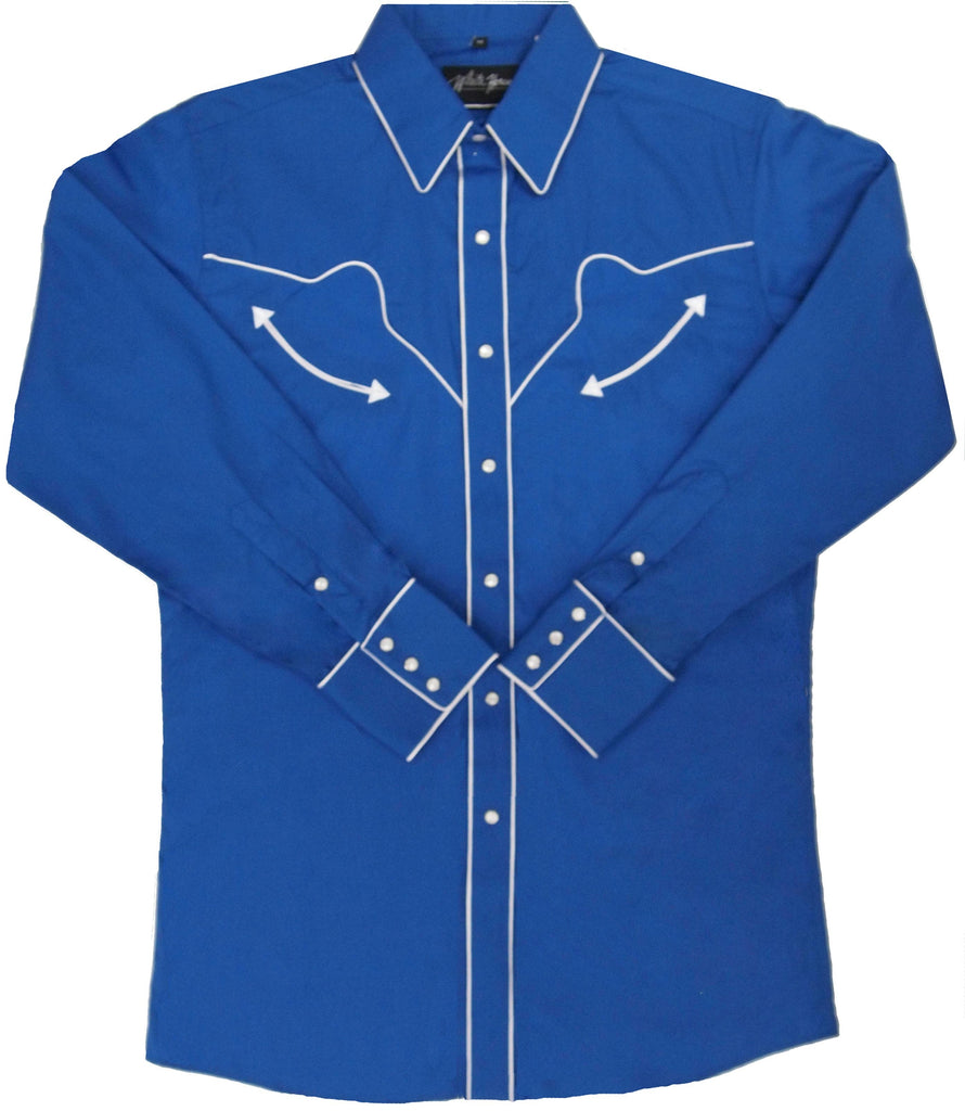 White Horse Apparel Men's Western Shirt Royal with White Piping Front