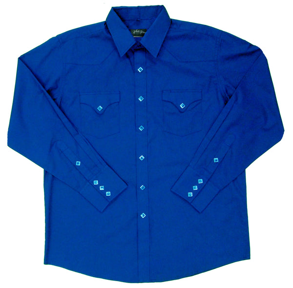 White Horse Apparel Men's Western Shirt Solid with Flap Pockets Royal Blue