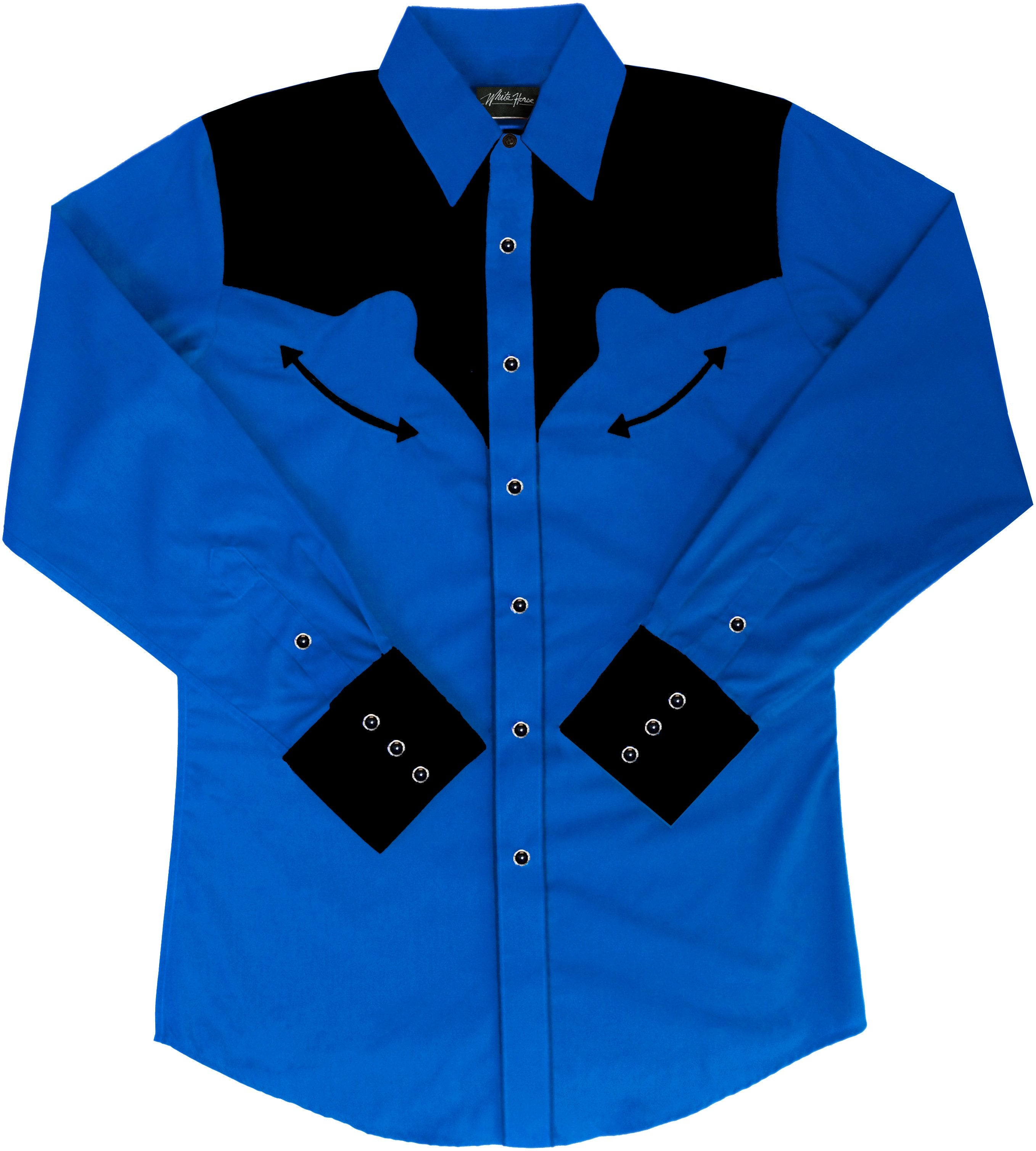 be92bf463 Embroidered Western Shirt: White Horse Men's Retro Royal and Black ...