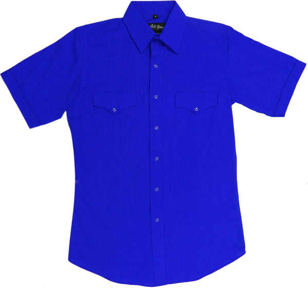 White Horse Apparel Men's Western Short Sleeve Shirt Solid Royal Blue