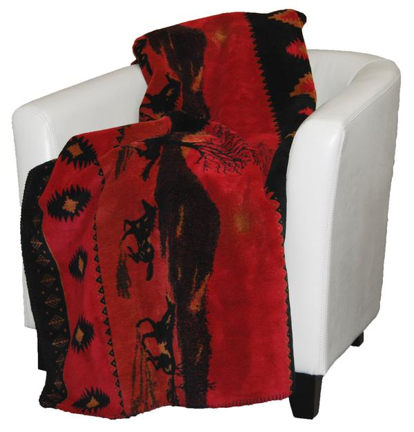 Denali Blankets Red Running Horses Blanket Throw on Chair