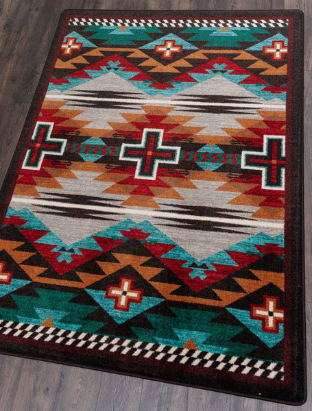 American Dakota Rug Rustic Cross Electric Rectangle