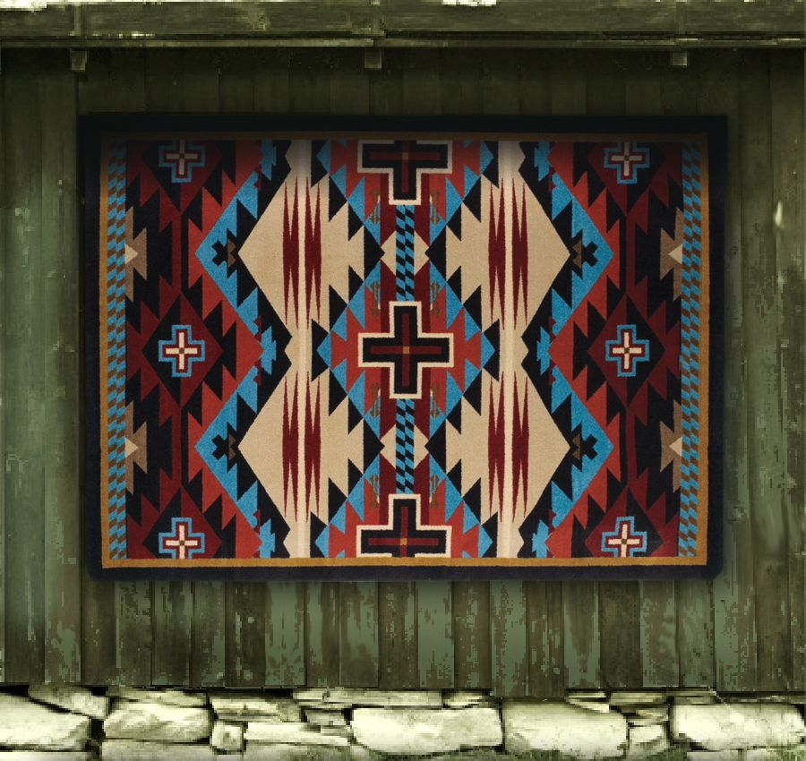 Trader Collection: Rustic Cross Blue Area Rugs