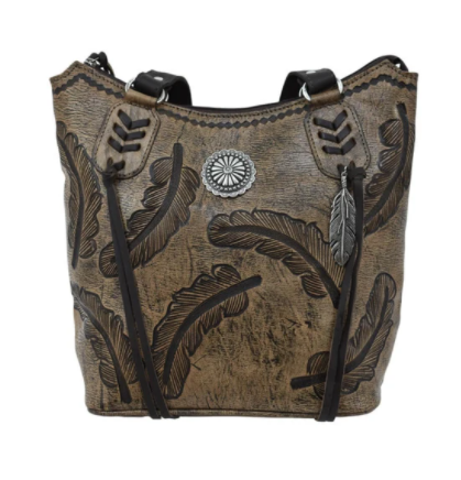 American West Handbag Sacred Bird Collection Zip Top Tote Charcoal Brown/Turquoise Front