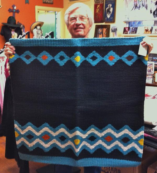 Saddle Blanket Black and Turquoise