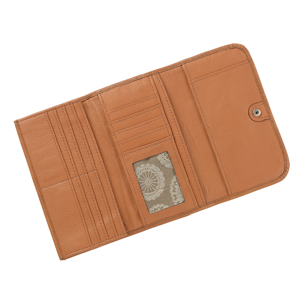 American West Santa Barbara Tri-Fold Wallet Interior Golden Tan
