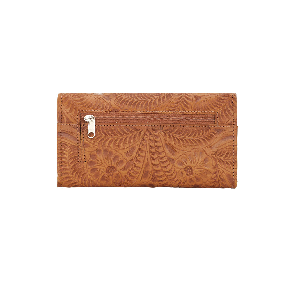 American West Santa Barbara Tri-Fold Wallet Back Golden Tan