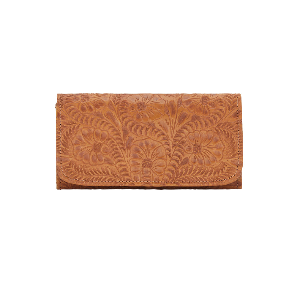 American West Santa Barbara Tri-Fold Wallet Front Golden Tan