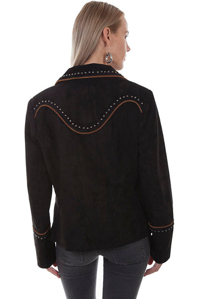 Scully Women's Suede Jacket with Piping and Arrowheads Front