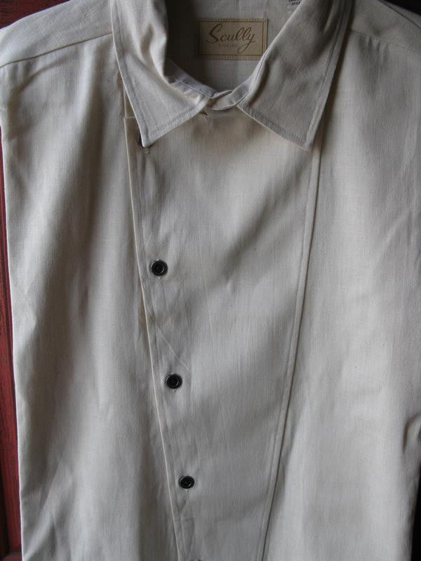 Scully Mens Rangewear Old West Shirt Asymetrical Front Closure Natural Front Detail
