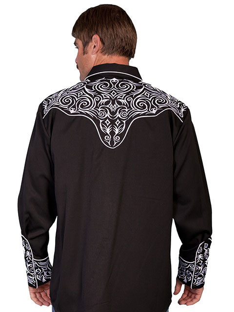 Vintage Inspired Western Shirt Mens Scully Scroll White on Black Back S-4XL
