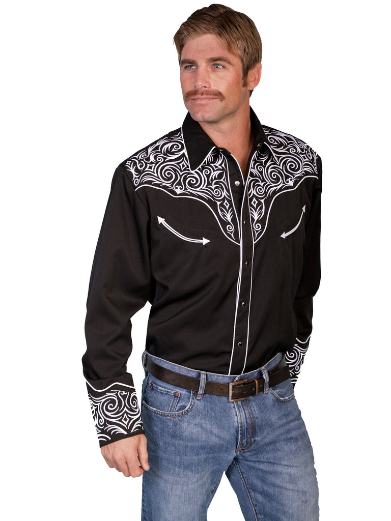 Vintage Inspired Western Shirt Mens Scully Scroll White on Black Front S-4XL