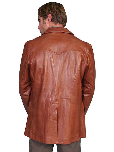 Scully Men's soft touch lamb Western blazer, antique brown back view