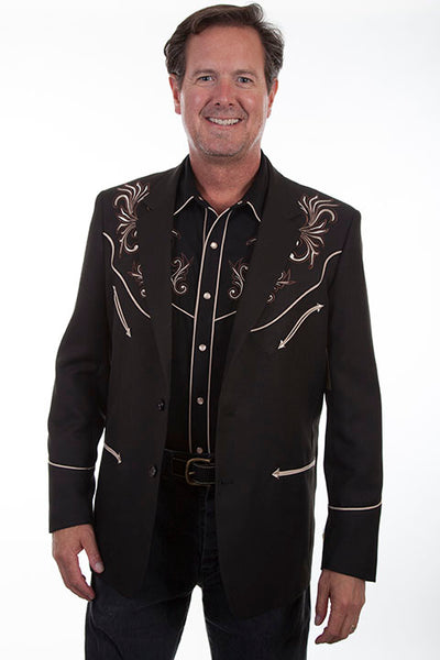 Scully Men's Western Blazer woth Floral Scroll Embroidery Black Front