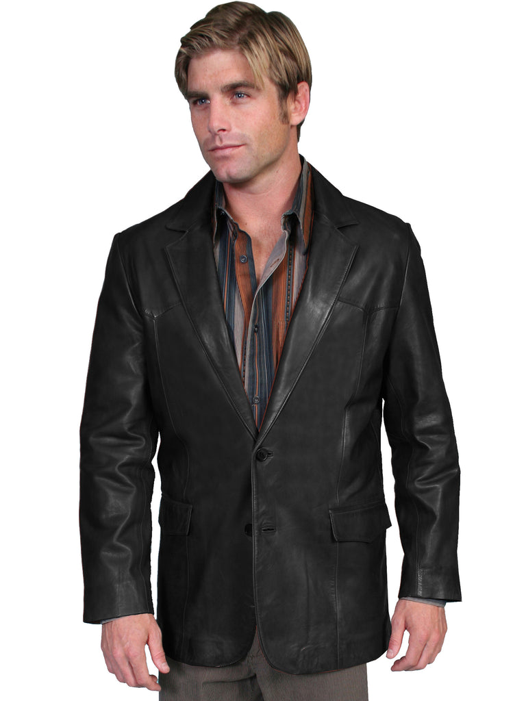Scully Mens soft touch lamb Western blazer, black, all sizes, front view