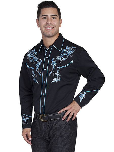 Vintage Inspired Western Shirt Scully Crystals Black S-4X