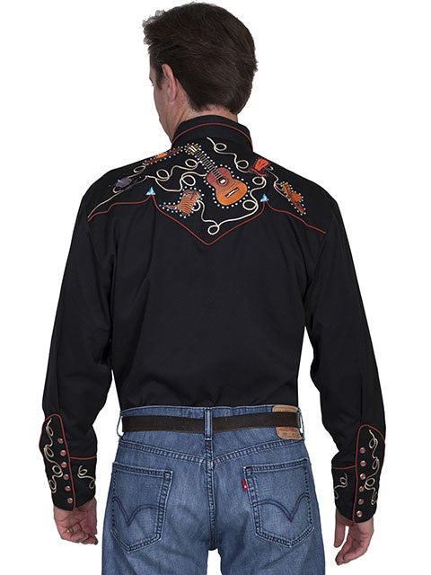 Vintage Inspired Western Shirt Mens Scully Boots and Guitars Back