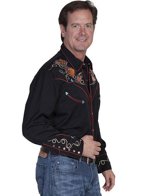 Vintage Inspired Western Shirt Mens Scully Boots and Guitars Side