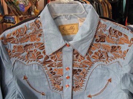 Vintage Inspired Western Shirt Ladies Scully Gunfighter Rust Blue Front Yoke XS-2XL